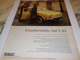 ANCIENNE  PUBLICITE CONFORTABLE ISN T IT VOITURE DAUPHINE  DE RENAULT 1960 - Voitures