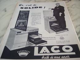 ANCIENNE PUBLICITE CA C EST DU SOLIDE VOTRE CUISINIERE LACO 1960 - Publicité