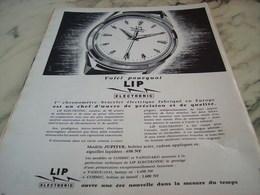 ANCIENNE   PUBLICITE ELECTRONIC  MONTRE LIP 1960 - Jewels & Clocks