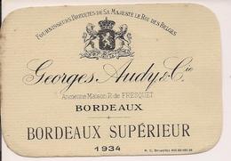 GEORGES AUDY & CIE BORDEAUX  SUPERIEUR 1934  HM  (1) - Bordeaux