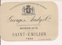 GEORGES AUDY & CIE BORDEAUX  SAINT-EMILION 1934  HM  (1) - Bordeaux