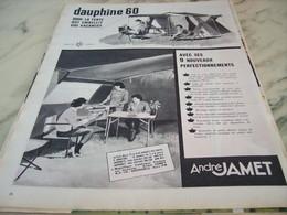 ANCIENNE PUBLICITE TENTE DAUPHINE 60 DE ANDRE JAMET 1960 - Publicité