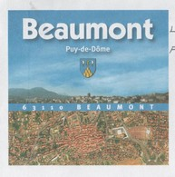BEAUMONT 63 PUY DE DOME - BLASON, VILLAGE VUE D AVION, PANORAMA - PAP ENTIER POSTAL 2008, VOIR LES SCANNERS - Vacances & Tourisme