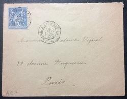 AS7 Ambulant De Jour Mars. à Lyon RAPIDE  «A » 18/8/1892 Sage 15c - Poststempel (Briefe)