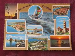 Croacia Unused Postcard Zadar Zadra Multiview Church Panorama Coast Boat - Croatie