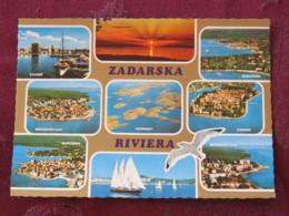 Croacia Unused Postcard Zadar Zadra Multiview Church Panorama Coast Boat Ship - Croatie