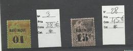 Martinique, YT N° 3 & 28 Neufs* Cote: 28€ + 45€ - Martinica (1886-1947)