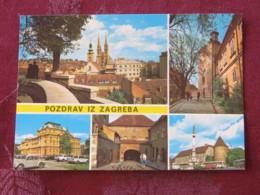 Croacia Unused Postcard Zagreb Multiview Theatre Cathedral Castle - Croatie