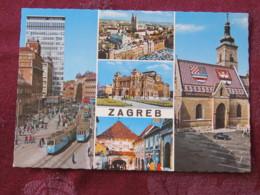 Croacia Unused Postcard Zagreb Tramway Street View Cathedral Theatre - Croatie