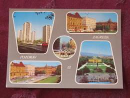 Croacia Unused Postcard Zagreb Buildings Tramway Theatre - Croatie