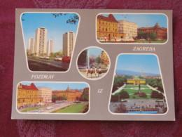 Croacia Unused Postcard Zagreb Multiview Buildings Theatre - Croatie