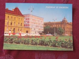 Croacia Unused Postcard Zagreb Street View Cars Flowers - Croatie