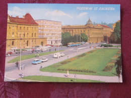Croacia Unused Postcard Zagreb Street View Cars Tramway - Croatie