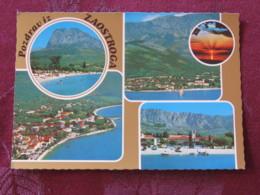Croacia Unused Postcard Zaostrog Multiview Coast Mountain Boats - Croatie