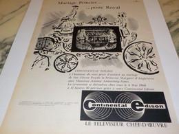 ANCIENNE PUBLICITE MARIAGE PRINCIER POSTE ROYAL CONTINENTAL EDISON 1960 - Publicité