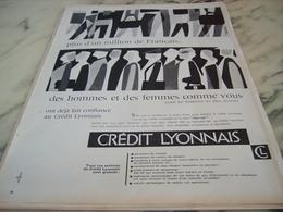 ANCIENNE  PUBLICITE BANQUE CREDIT LYONNAIS  1960 - Publicité