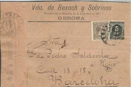CARTA 1889  GERONA   SOLO FRONTAL - 1889-1931 Reino: Alfonso XIII