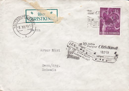 Austria ÜBER CHRISTKINDL Label & Cds. HOLLENSTEIN /YPPS 1959 Cover Brief SEON Argau Schweiz Bird Vogel Oiseau Auerhuhn - 1945-.... 2. Republik