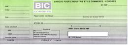 COMORES COMORE KOMOREN CHEQUE ASSEGNO BANQUE POUR L'INDUSTRIE ET LE COMMERCE BIC - Cheques & Traveler's Cheques