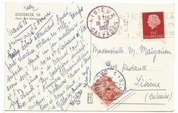 TAXE 10FR LISIEUX CALVADOS 1955 + REPETE EN ROUGE A COTE CARTE NEDERLAND 15C SONSBEEK - Marcophilie (Lettres)
