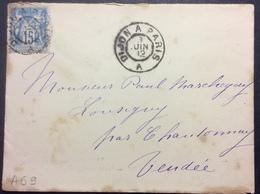 """AS9 Ambulant De Jour Dijon à Paris """"A"""" 8/6/1892 Sage 15c - Poststempel (Briefe)"""