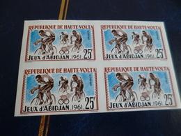 Bloc De 4 Non Dentelé Haute Volta Imperfored Jeux D'Abidjan 1961 Cyclisme Vélo - Cycling