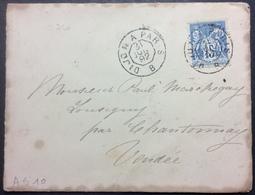 AS10 Ambulant De Jour Dijon à Paris «B» 31/7/1892 Sage 15c - Poststempel (Briefe)