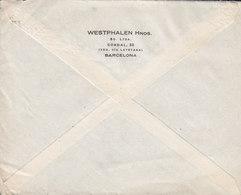 Spain WESTPHALEN Hnos., TMS Cds. BARCELONA 1928 Cover Letra HAMBURG Germany 40c. Alphonse XIII. - 1889-1931 Royaume: Alphonse XIII