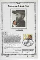België O.B.C  Maxikaarten  Pater Damiaan /Siant Mutien Marie (uitgesteld Pausbezoek.) - Cartes-maximum (CM)