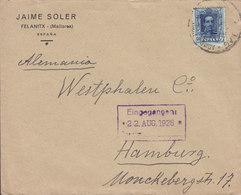 Spain JAIME SOLER Felanitx (Mallorca) 1928 Cover Letra HAMBURG Germany 40c. Alphonse XIII. - 1889-1931 Royaume: Alphonse XIII