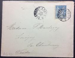 AS12  Ambulant Clermont à Paris «D» 1/7/1900 Sage 15c - Poststempel (Briefe)