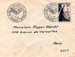 Salon Du Faux Paris 1955 - BT -masque Loup - !!! Enveloppe état Moyen : Tâches Et Plis - Cachets Commémoratifs
