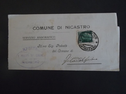 REGNO ITALIA BIGLIETTI CON OVALE DI FRANCHIGIA COMUNALE NICASTRO REGIE POSTE 1932 - 1900-44 Victor Emmanuel III
