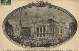 LILLE  Vue D'ensemble Du Nouveau Theatre Et De La Nouvelle Bourse Plan Executé Par M.L. Cordonier RV - Lille