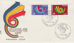 Enveloppe  FDC  1er  Jour   ANDORRE   Paire   EUROPA    1973 - Europa-CEPT