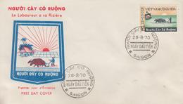 Enveloppe  FDC   1er  Jour   VIETNAM    Réforme  Agraire  :  Le  Laboureur  A  Sa   Riziére    1970 - Viêt-Nam
