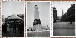6 Photos Originales Belgique - Bruxelles (1000)  En 1937 - Tramway, Monument Aux Morts, Kiosque, Marché, Grand Place, .. - Lieux