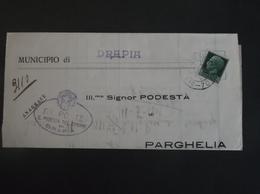 REGNO ITALIA BIGLIETTI CON OVALE DI FRANCHIGIA COMUNALE DRAPIA REGIE POSTE 1931 - Franchigia