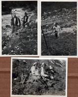 3 Photos Originales Sport & Loisir, La Chasse En Haute Montagne : Hommes, Femmes Et Chamois - Bovidé 1920/30 - Sports