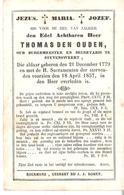 Faire-part THOMAS DEN OUDEN Oud Burgmeester Te STEVENSWEERT Du 18 April 1857 - Décès