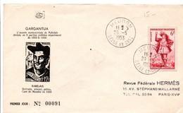 Gargantua De Rabelais 1953 - Meudon - écrivain Avocat Et Prêtre Curé - FDC - FDC