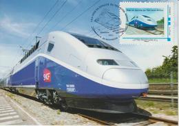 Besançon  TGV Rhin-Rhone 2011 Timbre Avec Oblitération Temporaire Carte - Francia