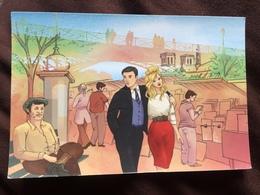 Carte Postale : Le Pont Des Arts, Alain Delon, Brigitte Bardot Et Jean-Paul Belmondo - Ponts