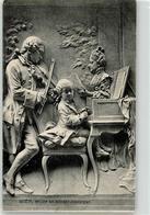 51851365 - Relief Mozart Am Klavier Geige Vignette - Musik Und Musikanten