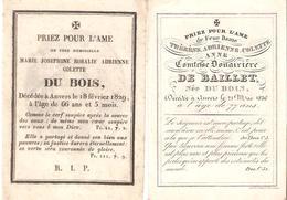 Faire-part Décès Marie DU BOIS  Et Thérèse Comtesse Douairière DE BAILLET Née DU BOIS En 1829-1836 - Décès