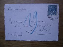 1931 Correspondance Pneumatique DANJEAN Cachet Les Lilas Au Dos - Cachets Manuels