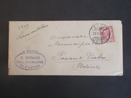REGNO ITALIA BIGLIETTI CON OVALE DI FRANCHIGIA COMUNALE FAEDIS REGIE POSTE 1926 - Franchigia
