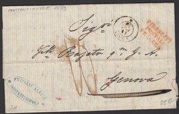 """LEVANT : Pli De CONSTANTINOPLE En Port Du1859 Par Paquebot """"SYDNUS"""" + PIROSCAFI POSTALI FRANCCESI P GENE - Marcophilie (Lettres)"""