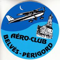 Thematiques Aviation Autocollant Sticker Aero Club Belvés Perigorg Avion - Autocollants