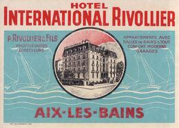 Aix Les Bains : Hôtel International Rivollier - étiquette Bagage - Tickets D'entrée